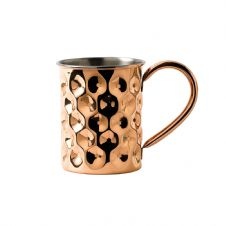 Solid Copper Dented Slim Mug with Nickel Lining 42cl 14.75oz
